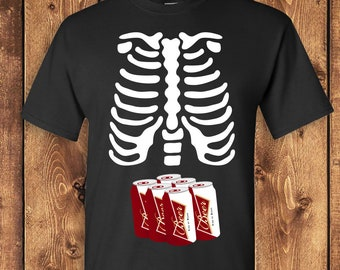 d2f1d3a9 Skeleton Ribcage Six Pack BEER Xray Halloween T-shirt Tshirt Tee Shirt  Pregnant Pregnancy Funny Cute Booze Dad Father Couples Costume TF-245