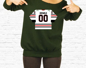 Clark Griswold s Jersey Christmas Vacation Movie Slouchy Sweatshirt Plus  Sized Off the Shoulder Sweater National Lampoons Christmas TF-37 123c84357