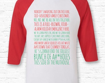 bleeped clarks rant christmas vacation movie quote raglan bella canvas 34 sleeve jolliest bunch a holes nuthouse xmas gift movie tf 61