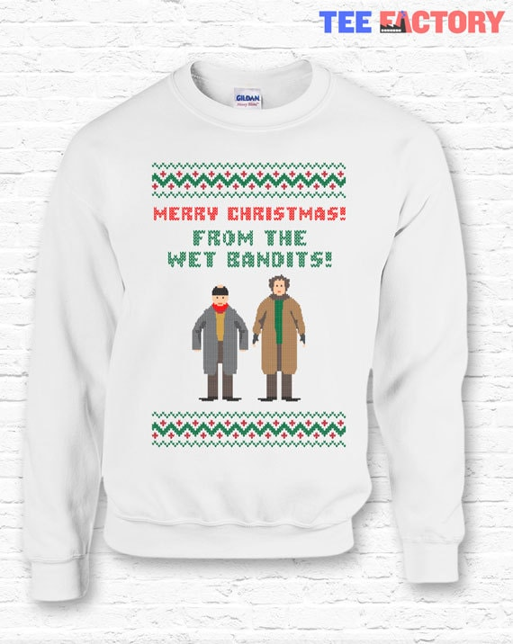 6d0ef0d5e Funny Wet Bandits Merry Christmas Quote Crewneck Sweater | Etsy