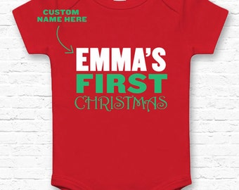 Personalized! Baby's First Christmas Baby Bodysuit Jumper Gift • Custom Jumper New Baby Gift for New Mom Family Infant Clothes Twins • TF-44