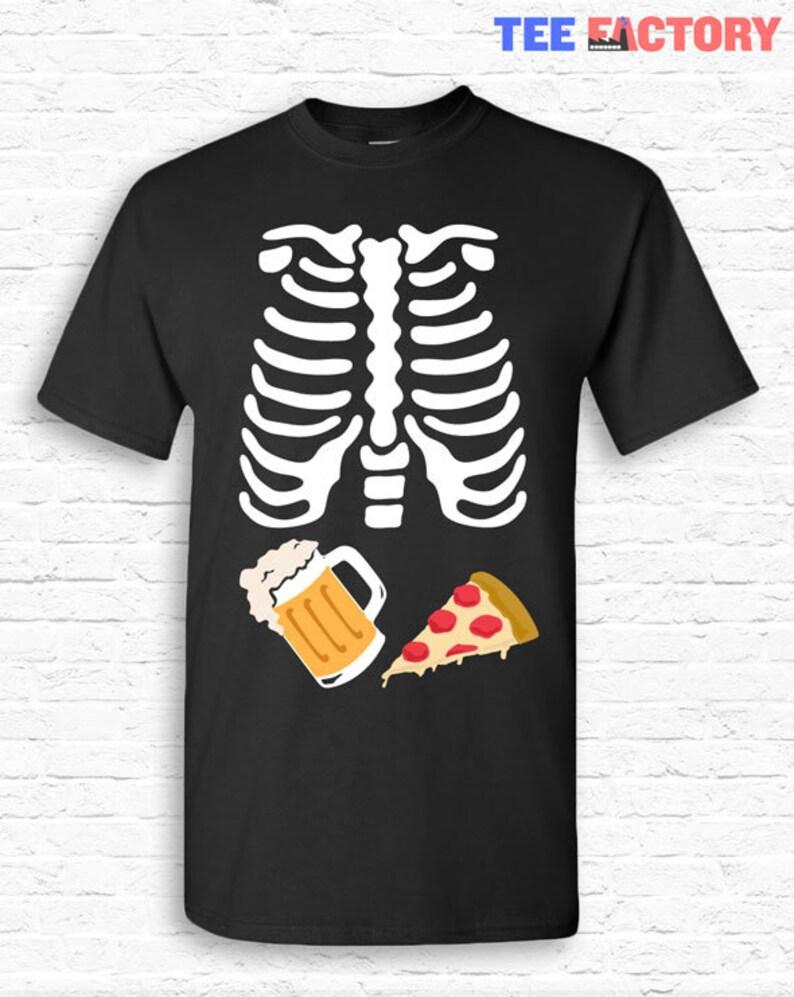 679ad3014cc91 BEER and PIZZA Skeleton Ribcage Xray Halloween T-shirt Tshirt | Etsy