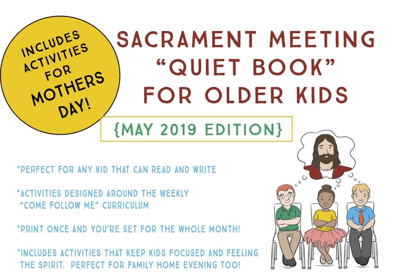 LDS Quiet Book for Older Kids - May 2019 Edition - Come Follow Me  Activities - Primary class and Family Home Evening - Mothers Day