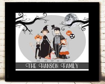 Witch Halloween Family Portrait - Halloween Décor - Digital Art Print - Witch Family - Family Portrait - 11x14 Digital print - personalized