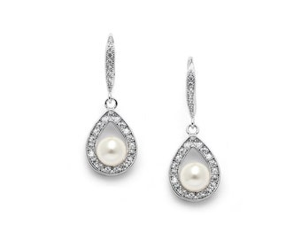 329b137b1 Mariell Ivory Pearl Bridal Earrings, Pear Shaped Cubic Zirconia Pave Frame,  Perfect Size For Bridesmaids