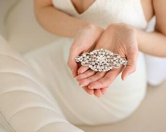 2f1772aa2 Mariell Vintage Bridal Crystal Brooch Pin - Top Selling Antique Silver  Rhinestone Wedding & Fashion Glam