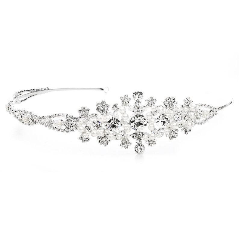 Crystal and White Pearl Starburst Bridal Side Headband