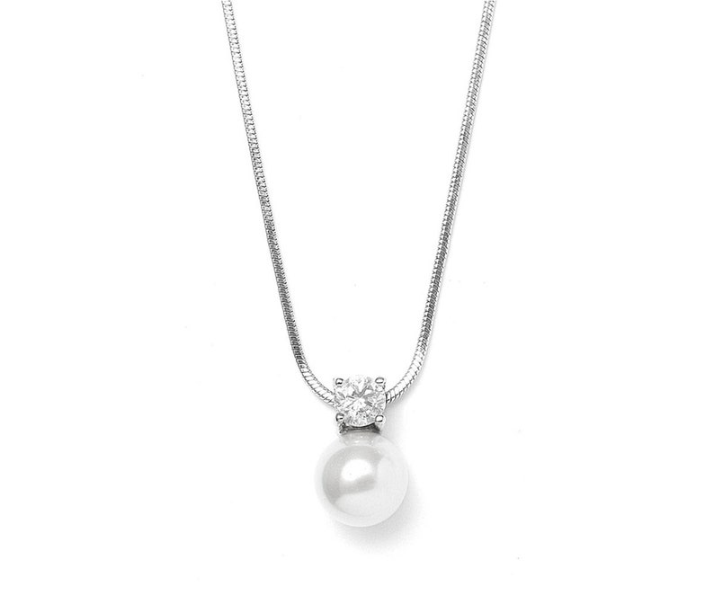 11dadaf20 Mariell Round White Pearl Drop Necklace Pendant with CZ Accent   Etsy
