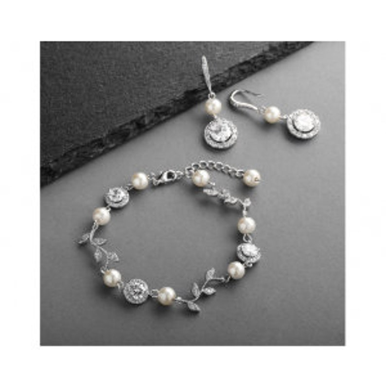4b07cad29 Mariell Silver Vine and Ivory Pearl CZ Bridal Bracelet and   Etsy