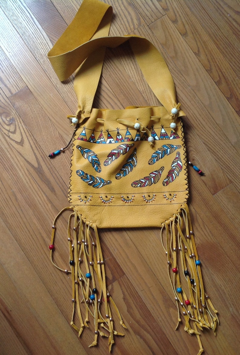 Fringed bag bison leather handpainted and laced image 0