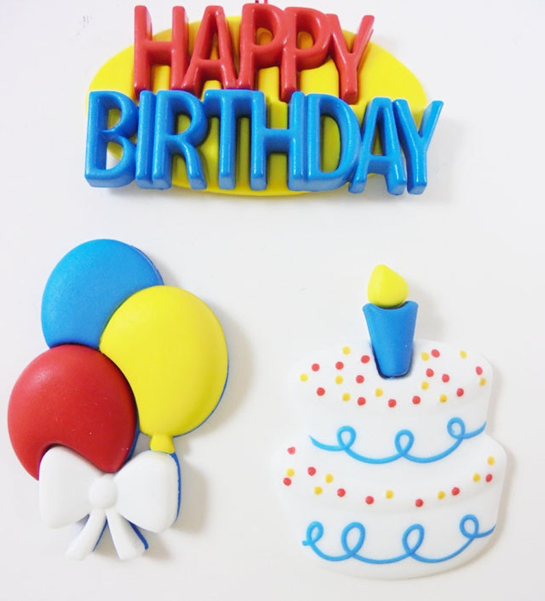 SALE Wuttons Happy Birthday Balloons Cake Shank Back Buttons