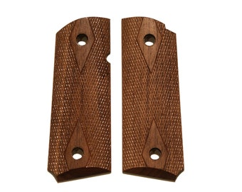 Compact Checkered Walnut 1911 grips