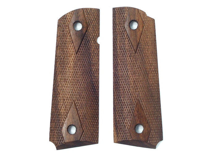 Full Size Checkered Walnut 1911 Grips
