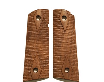 Full Size Checkered Walnut 1911 Magwell Grips