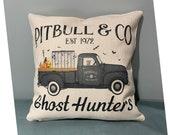Pitbull Halloween Pillow, Halloween Pillow Cover, Pitbull Pillow, 15x15 pillow cover, 17x17 Pillow Cover, Halloween Dog Pillow