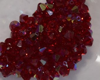 Siam Red AB2X Bicone Swarovski beads 4mm, 50 Beads, 100 Beads