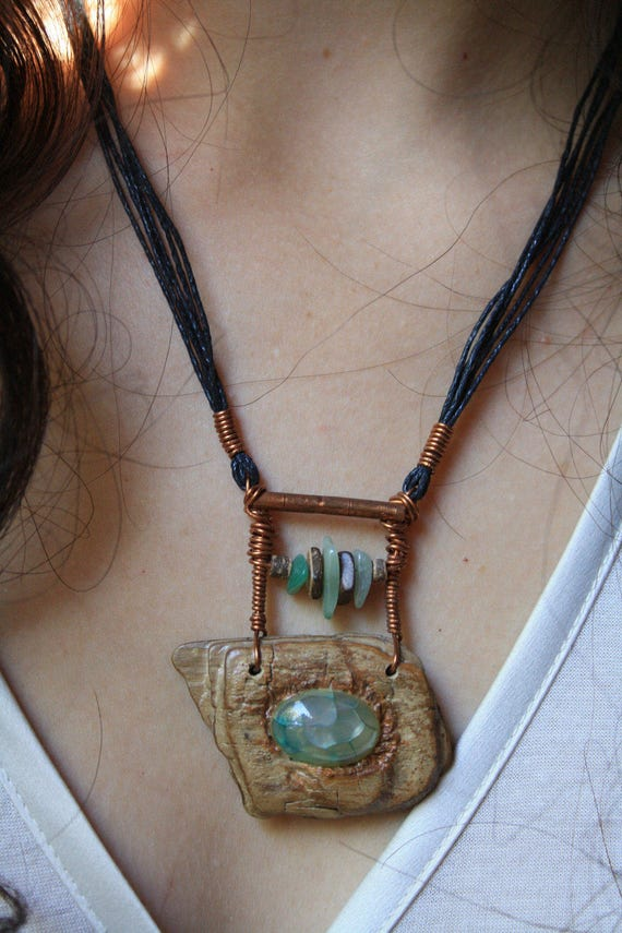 Handmade with copper vein agate stone carved driftwood etsy