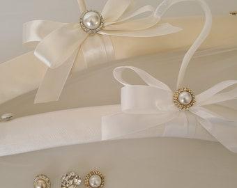 Bridal Gown Hanger Padded Bridal Hanger Brides Hanger Lingerie Hanger Bridal Covered Hanger Hanger for Brides Gown Lace Hanger