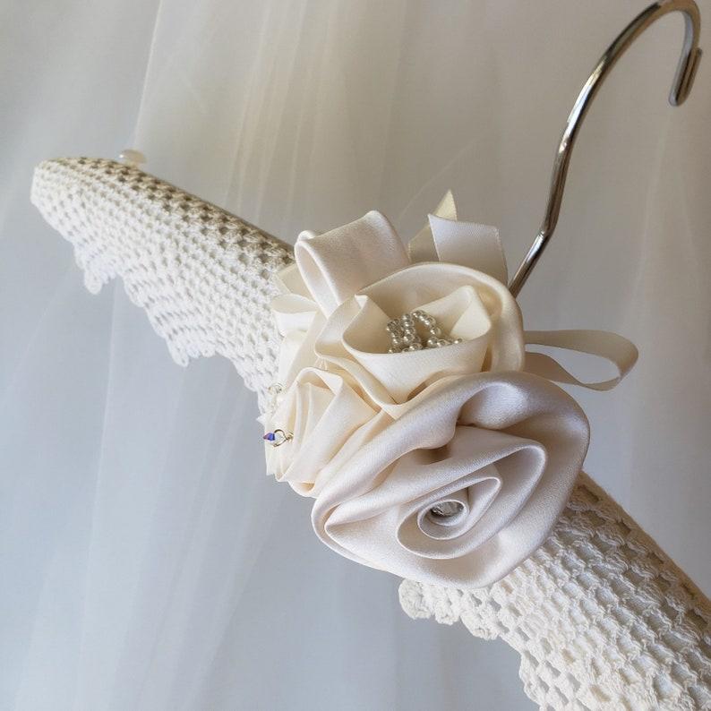 Bridal Hanger Padded Elegant Hanger Fabric Covered Hanger Brides Hanger Decorative Bridal Hanger Lace Bridal Hanger