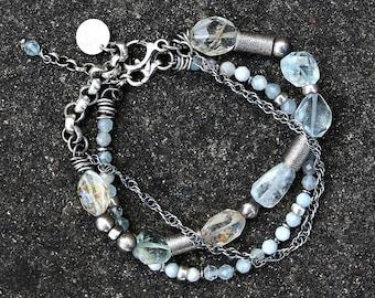 aquamarine silver bracelet oxidized silver handmade chain bracelet
