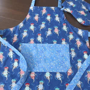 Dragon Themed Child Apron with Quilted Play Oven Mitt Reversible Kitchen Play Accessory Boy or Girl Apron