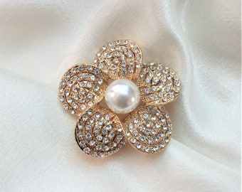 Big Vintage mother of pearl shell MOP layered flower Brooch Pin gold accent dimensional hand carved