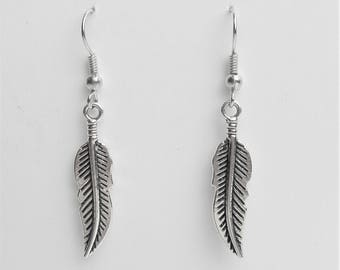 Silver Feather Earrings, Jewelry Gift For Her, Jewelry Earrings, Dangle Fashion Earrings