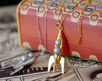 Retro Rocket Pendant - 925 Gold Vermeil with Genuine Freshwater in Gray Pearls
