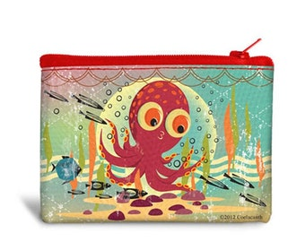 Canvas Cash Coin Purse,Funny Kraken Octopus Print Make Up Bag Zipper Small Purse Wallets