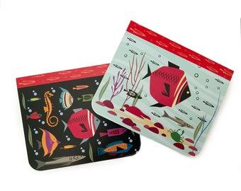 Aquarium fish 2 Mini Pocket Notepads, ocean aquarium gifts for kids children set, travel notebook sketchbook, journal,address book