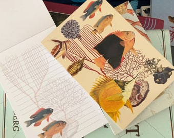 Coral fish Notebook, ocean aquarium gifts for kids children, travel notebook sketchbook, journal,address book,, vintage style