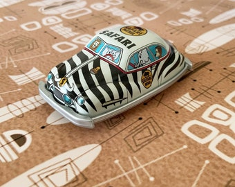 Safari - Mid-Century tin car refrigerator magnets with gift box, Vintage old school, Retro Comic style, Antique Zoo ,Unique gifts
