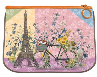 Paris Trip - Lightweight Fabric Travel and Cosmetic Medium Zipper Pouch, Art Supply Storage Case, Vintage Face Mask Holder, cell phone