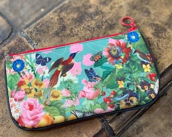 Bird and Butterfly - Medium Zipper Cosmetic Pouch,stationery, pencil bag,Natural Museum,Zoo,bird garden,butterfly world,flower garden,