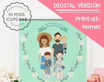 Custom Family Portrait Illustration // Full Body // Hand Illustrated / Wedding Gift / Anniversary Gift / Personalized Gift/ DIGITAL FILE PDF