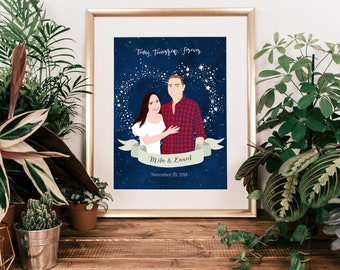 Wedding Day Gift for Bride from Groom, Personalize Wedding Gift for Couple, Night Sky Star Chart Print with Constellations, Newlywed Gift