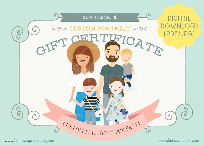 Gift Certificate for Custom Family Portrait Illustration// image 0