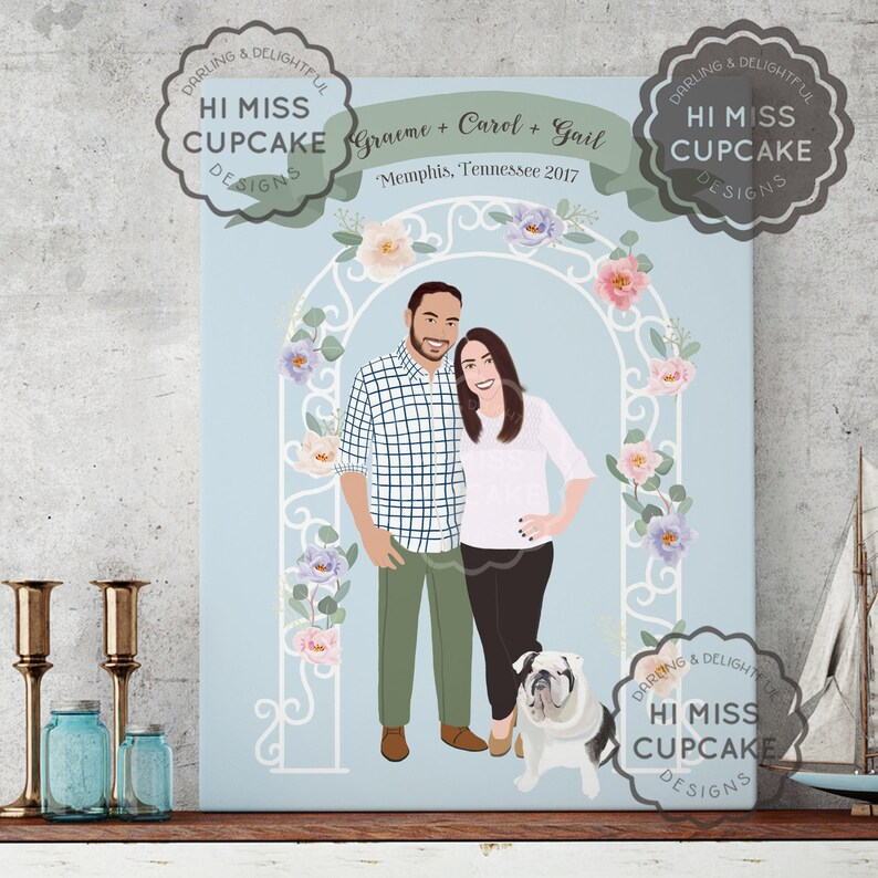 Custom Family Portrait Illustration // Full Body // Hand image 0
