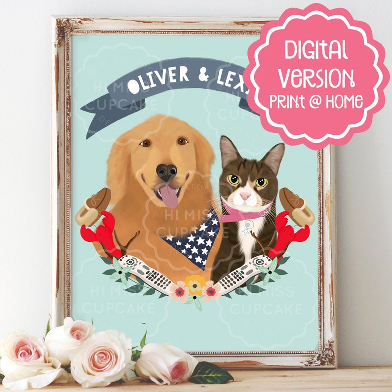 Custom Pet Portrait Illustration / Cat Lover Gift  / Dog Lover image 0