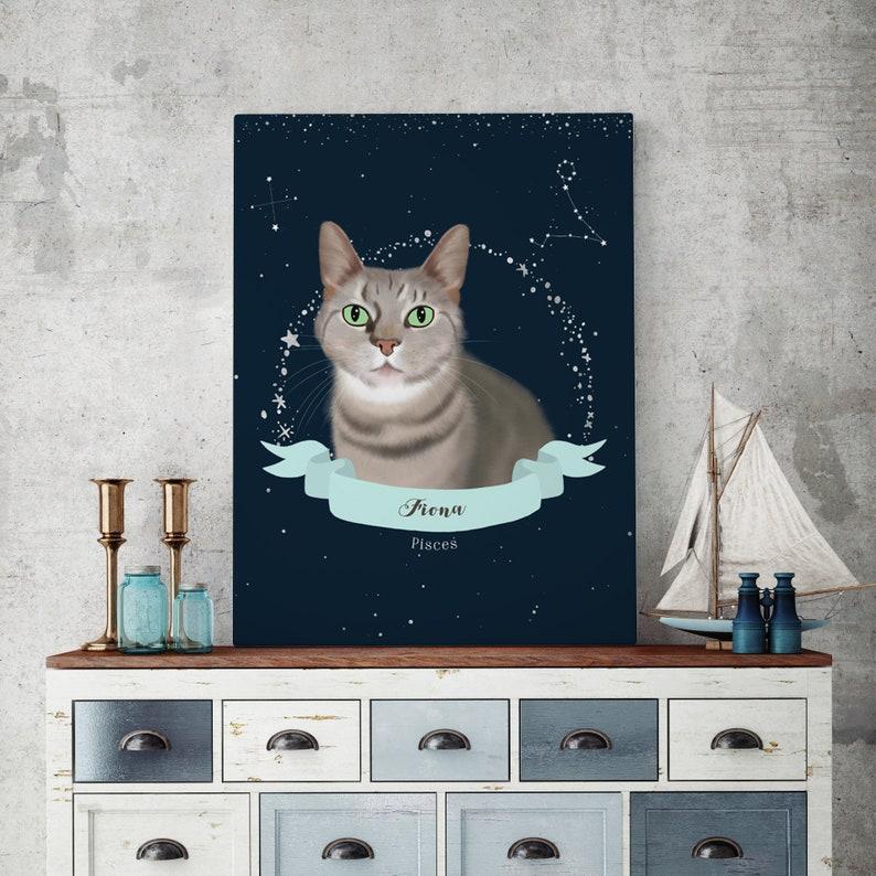 Pet Constellation Wall Art Pet Portrait Watercolor Print image 0