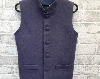 141e7eb33 Boys Blue Wool Waistcoat, Boys Blue Wool Vest, Mandarin Collar Style, 7-8yrs