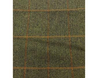 Men's Tweed Waistcoat, Men's Tweed Vest - Made to Order (Green and Orange Squares - Herringbone)