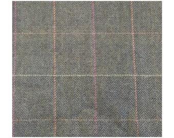 Men's Tweed Waistcoat, Men's Tweed Vest - Made to Order (Greenery - Green, orange/pink stripe)