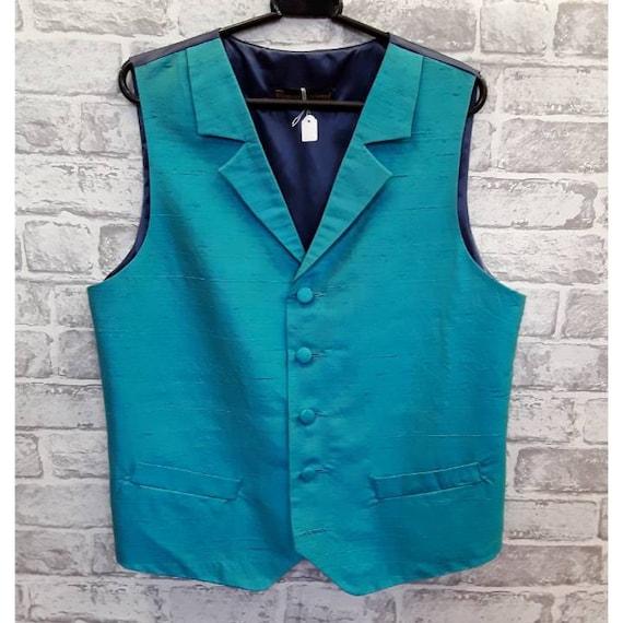 Men's Blue Silk Wedding Vest, Men's Blue Silk Wedding Waistcoat, 40