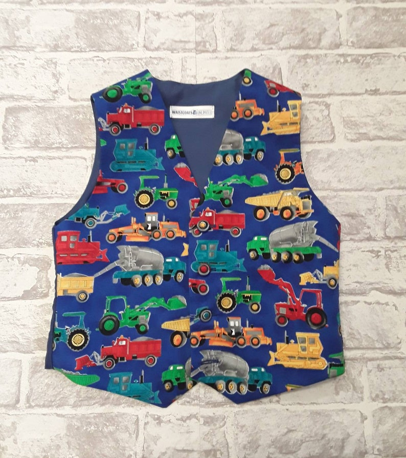 Boy/'s Waistcoat Made To Order Blue Diggers And Lorry/'s