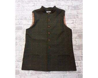 """Men's Tweed Gillet, Green/Orange Square, 44-46"""" Chest - Ready To Wear"""