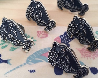 Cuttlefish soft enamel pin. Navy Blue Cuttlefish. Sealife Badge lapel pin.