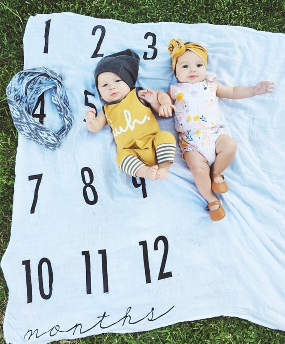 2 Frames Included Baby Shower Newborn New Moms Gift Halsy Fox Baby Milestone Blanket Boy Girl Large 60x40 Fleece Weekly Monthly Milestone Blanket Photography Props