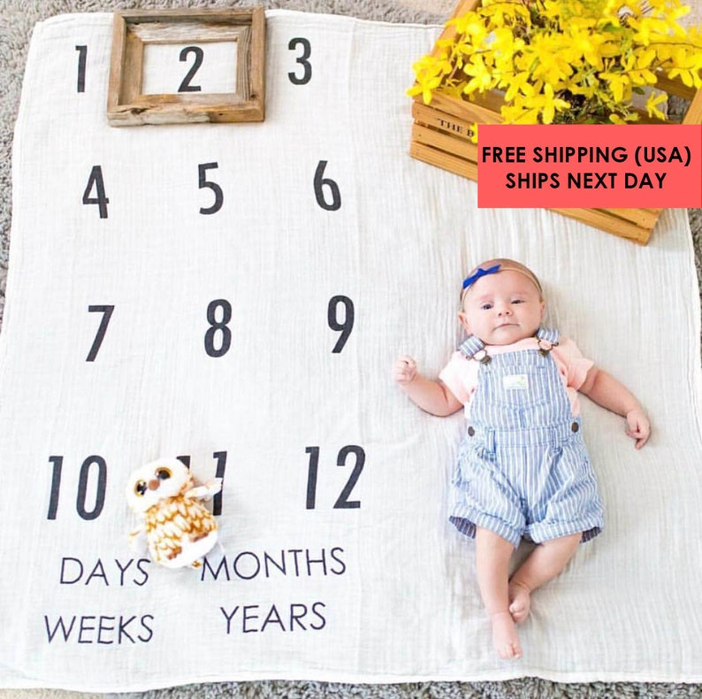 1e4b1a77b Baby Milestone Blanket ™ Days Weeks Months and Years / | Etsy