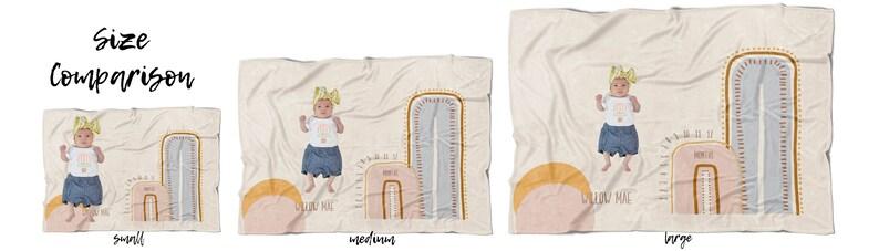 Hand Drawn Rainbow Age Blanket Anniversary Blanket Baby Gift Custom Name Neutral Modern Boho Rainbow Milestone Blanket Muted Boho Rainbow